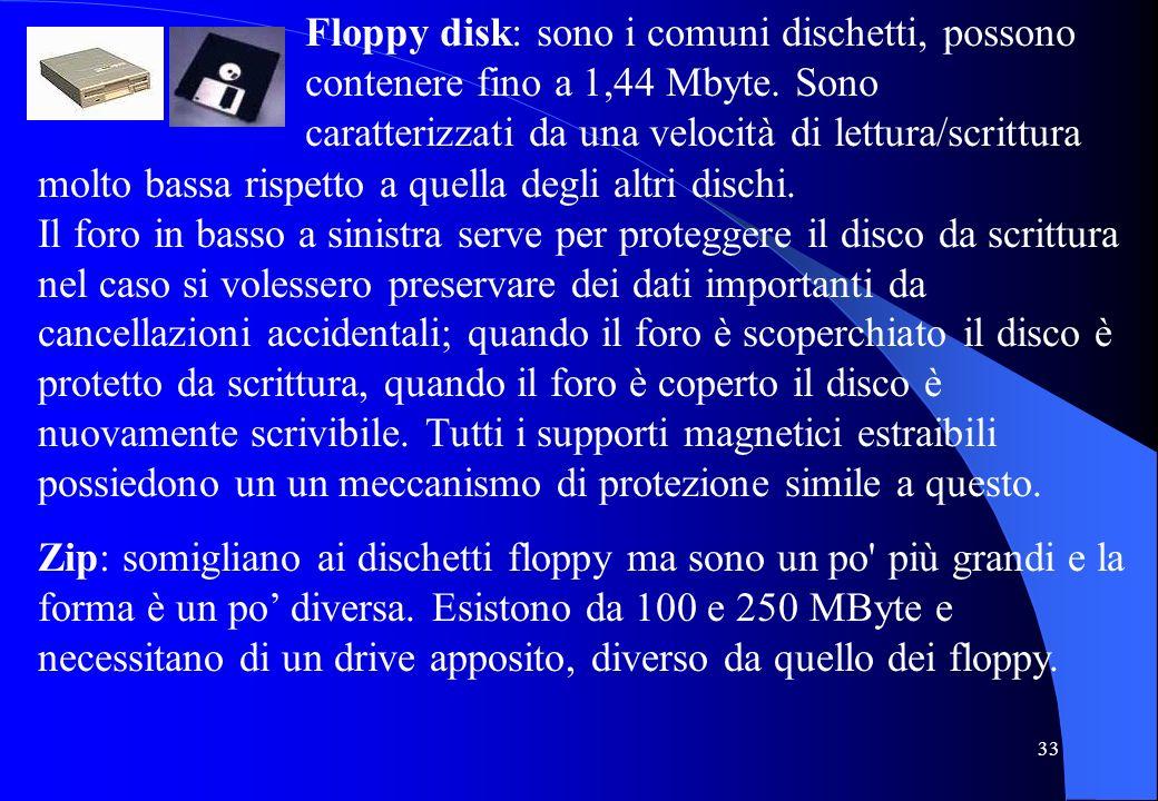 33 Floppy disk: sono i comuni dischetti, possono contenere fino a 1,44 Mbyte. Sono caratterizzati da una velocità di lettura/scrittura molto bassa ris