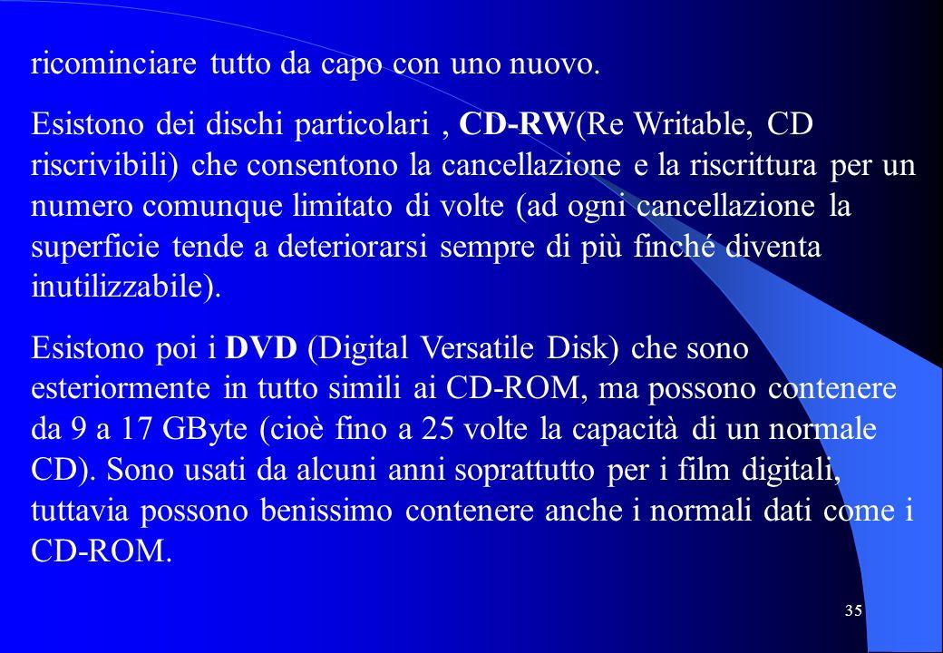 35 ricominciare tutto da capo con uno nuovo. Esistono dei dischi particolari, CD-RW(Re Writable, CD riscrivibili) che consentono la cancellazione e la
