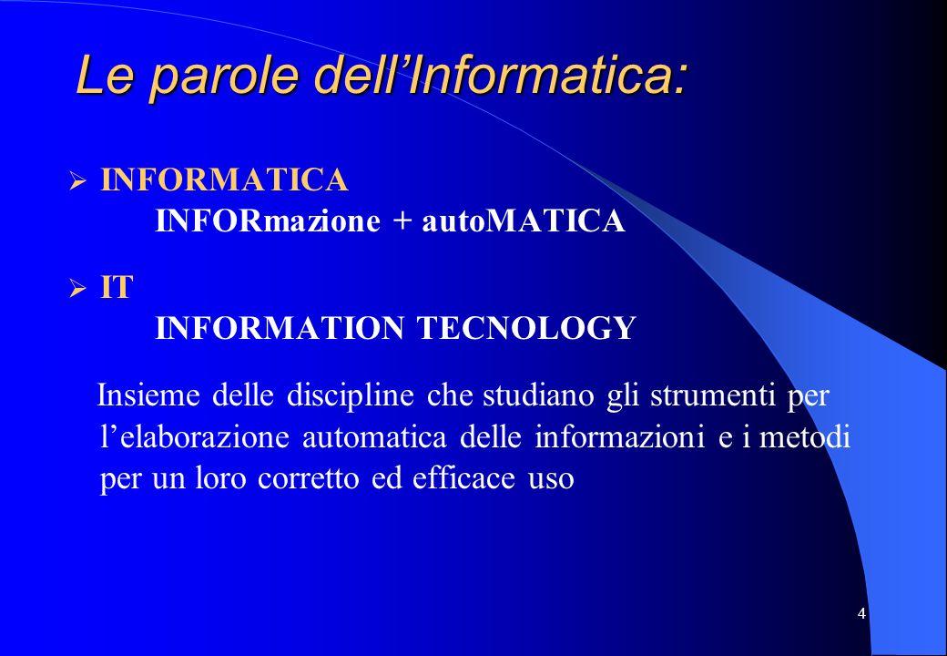 4 INFORMATICA INFORmazione + autoMATICA IT INFORMATION TECNOLOGY Insieme delle discipline che studiano gli strumenti per lelaborazione automatica dell