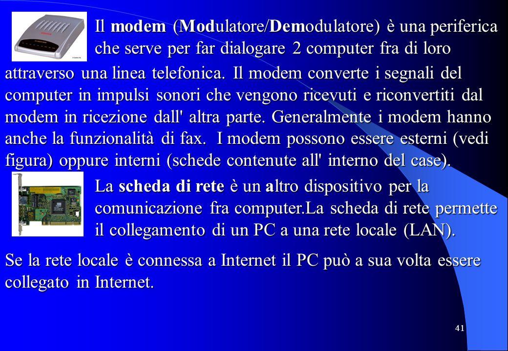 41 Il modem (Modulatore/Demodulatore) è una periferica che serve per far dialogare 2 computer fra di loro attraverso una linea telefonica. Il modem co