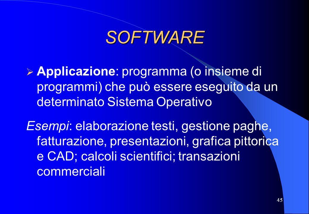 45 SOFTWARE Applicazione: programma (o insieme di programmi) che può essere eseguito da un determinato Sistema Operativo Esempi: elaborazione testi, g