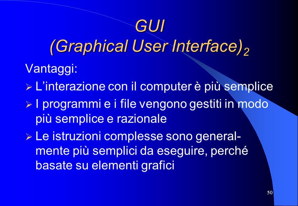 50 GUI (Graphical User Interface) 2 Vantaggi: Linterazione con il computer è più semplice I programmi e i file vengono gestiti in modo più semplice e