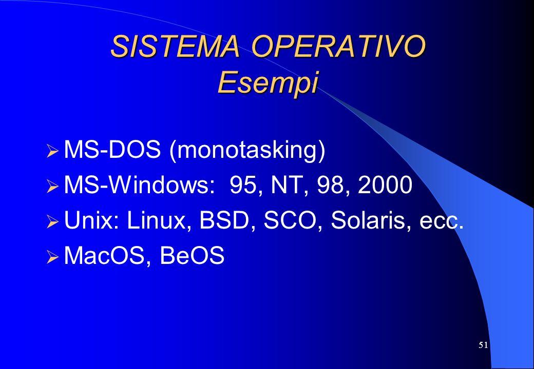 51 SISTEMA OPERATIVO Esempi MS-DOS (monotasking) MS-Windows: 95, NT, 98, 2000 Unix: Linux, BSD, SCO, Solaris, ecc. MacOS, BeOS