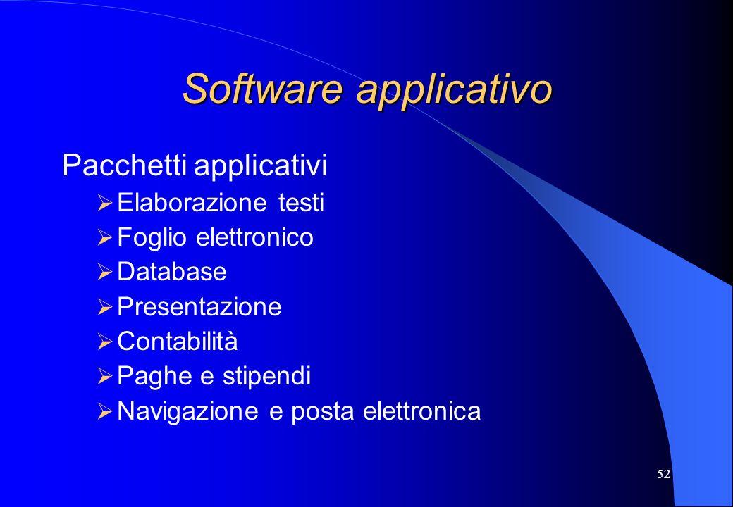 52 Software applicativo Pacchetti applicativi Elaborazione testi Foglio elettronico Database Presentazione Contabilità Paghe e stipendi Navigazione e