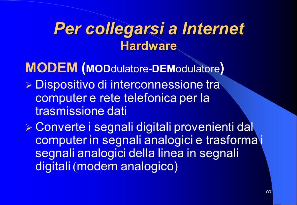 67 Per collegarsi a Internet Hardware MODEM ( MODdulatore-DEModulatore ) Dispositivo di interconnessione tra computer e rete telefonica per la trasmis