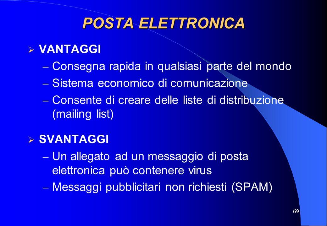69 POSTA ELETTRONICA VANTAGGI – Consegna rapida in qualsiasi parte del mondo – Sistema economico di comunicazione – Consente di creare delle liste di