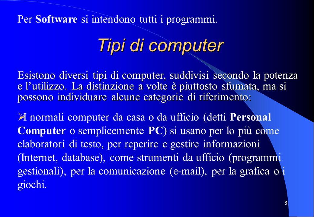8 Per Software si intendono tutti i programmi. Tipi di computer Esistono diversi tipi di computer, suddivisi secondo la potenza e lutilizzo. La distin
