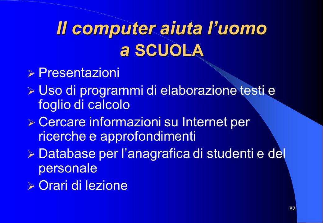 82 Il computer aiuta luomo a SCUOLA Presentazioni Uso di programmi di elaborazione testi e foglio di calcolo Cercare informazioni su Internet per rice