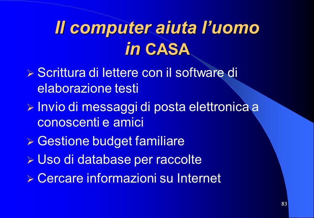 83 Il computer aiuta luomo in CASA Scrittura di lettere con il software di elaborazione testi Invio di messaggi di posta elettronica a conoscenti e am