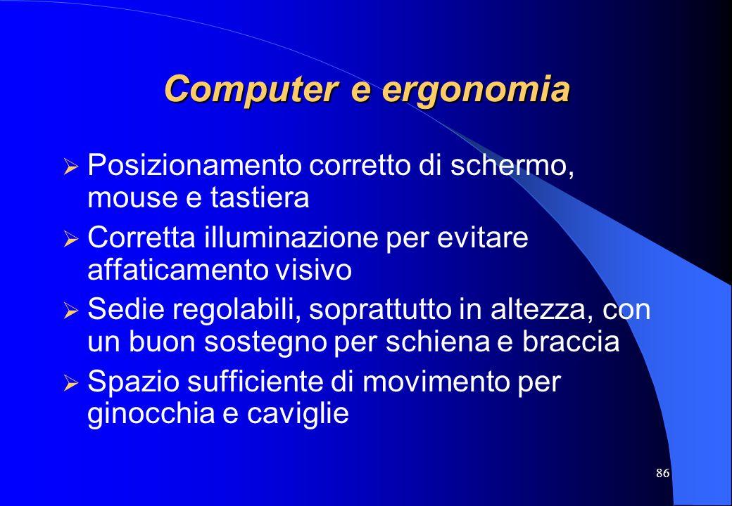 86 Computer e ergonomia Posizionamento corretto di schermo, mouse e tastiera Corretta illuminazione per evitare affaticamento visivo Sedie regolabili,