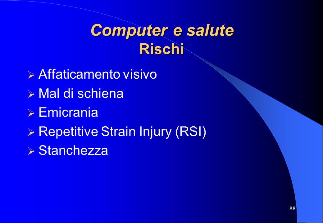 88 Computer e salute Rischi Affaticamento visivo Mal di schiena Emicrania Repetitive Strain Injury (RSI) Stanchezza