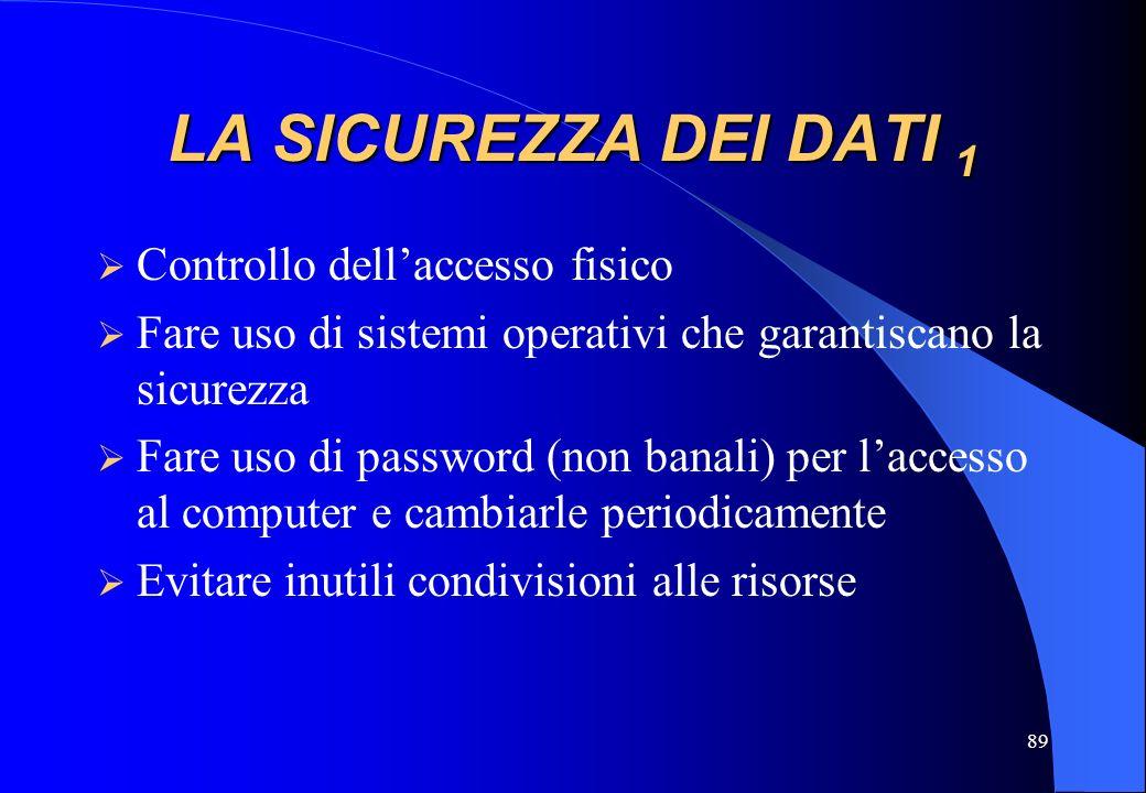 89 LA SICUREZZA DEI DATI 1 Controllo dellaccesso fisico Fare uso di sistemi operativi che garantiscano la sicurezza Fare uso di password (non banali)