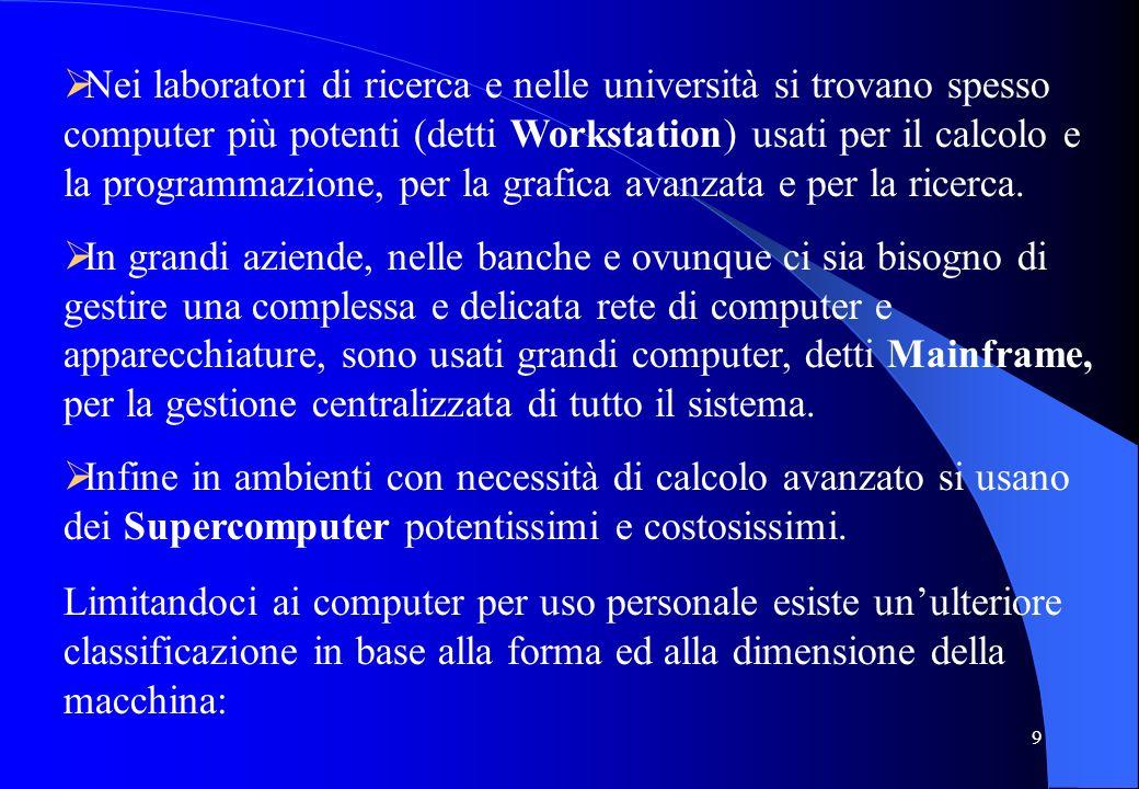 9 Nei laboratori di ricerca e nelle università si trovano spesso computer più potenti (detti Workstation) usati per il calcolo e la programmazione, pe
