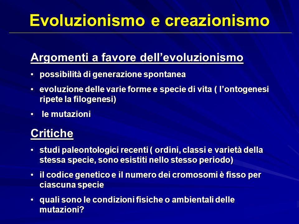 Argomenti a favore dellevoluzionismo possibilità di generazione spontaneapossibilità di generazione spontanea evoluzione delle varie forme e specie di