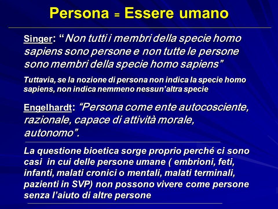 Persona = Essere umano Singer : Non tutti i membri della specie homo sapiens sono persone e non tutte le persone sono membri della specie homo sapiens