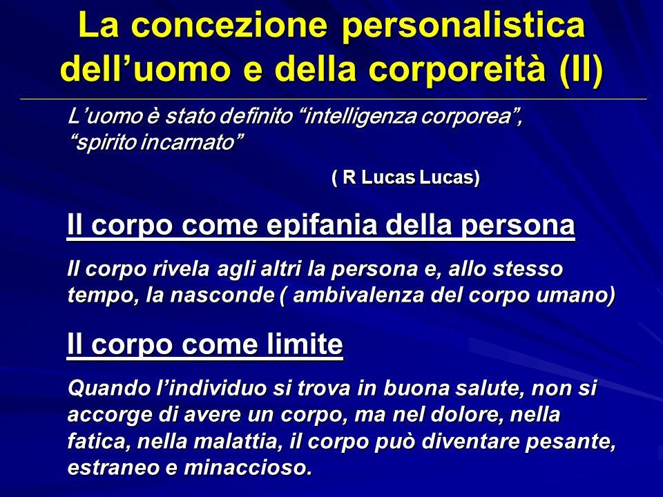 La concezione personalistica delluomo e della corporeità (II) Luomo è stato definito intelligenza corporea, spirito incarnato ( R Lucas Lucas) Il corp
