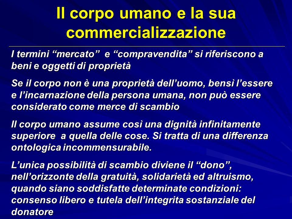 Il corpo umano e la sua commercializzazione I termini mercato e compravendita si riferiscono a beni e oggetti di proprietà Se il corpo non è una propr