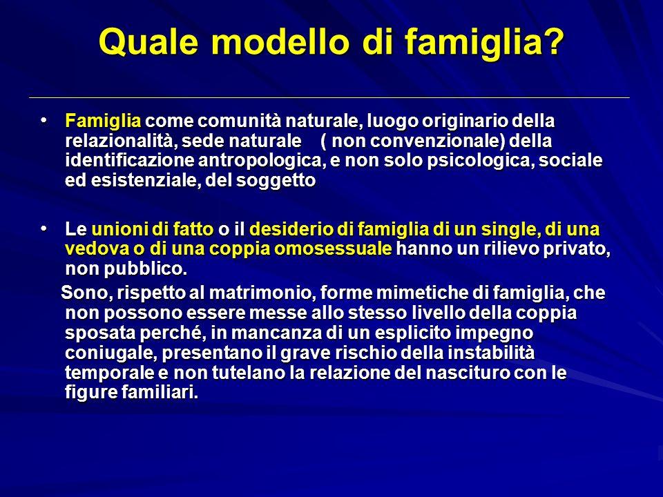 Quale modello di famiglia? Famiglia come comunità naturale, luogo originario della relazionalità, sede naturale ( non convenzionale) della identificaz