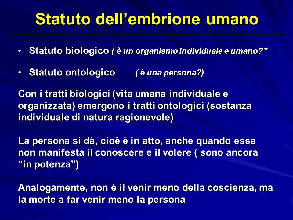 Statuto dellembrione umano Statuto biologico ( è un organismo individuale e umano? Statuto biologico ( è un organismo individuale e umano? Statuto ont