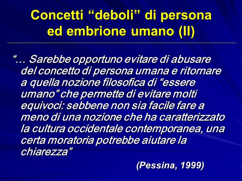 Concetti deboli di persona ed embrione umano (II) … Sarebbe opportuno evitare di abusare del concetto di persona umana e ritornare a quella nozione fi