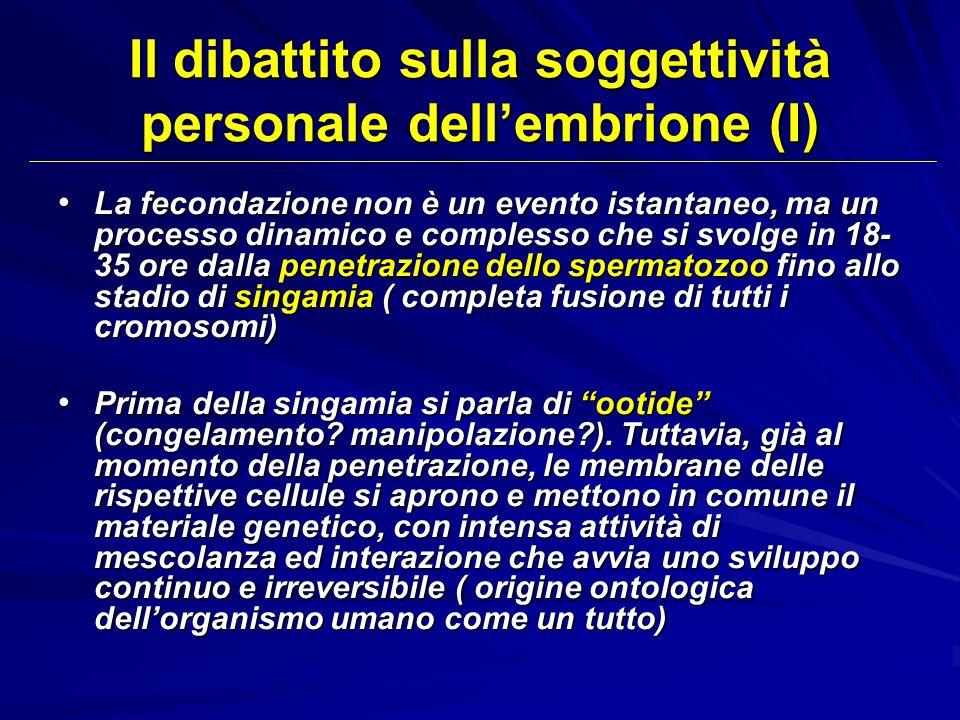 Il dibattito sulla soggettività personale dellembrione (I) La fecondazione non è un evento istantaneo, ma un processo dinamico e complesso che si svol