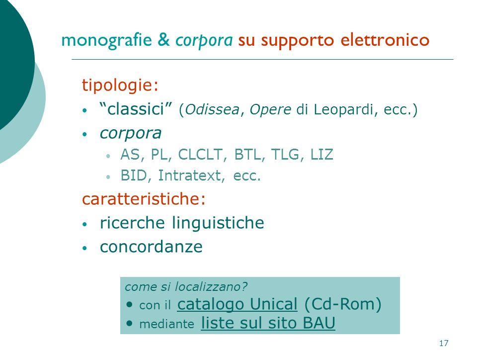 17 monografie & corpora su supporto elettronico tipologie: classici (Odissea, Opere di Leopardi, ecc.) corpora AS, PL, CLCLT, BTL, TLG, LIZ BID, Intratext, ecc.