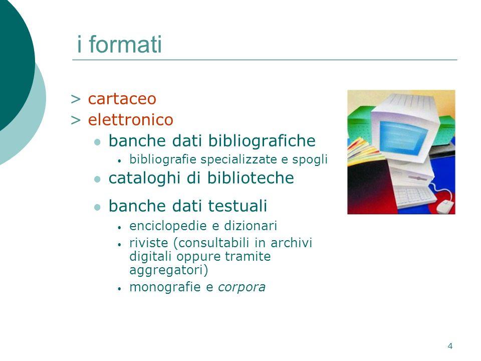 5 bibliografie specializzate bibliografie a stampa bibliografie on-line e su cd-romibliografie on-line e su cd-rom nuove tecnologie >contaminazione di generi > in alcune bibliografie si può passare dalla citazione al full- text (di articoli) come si localizzano.