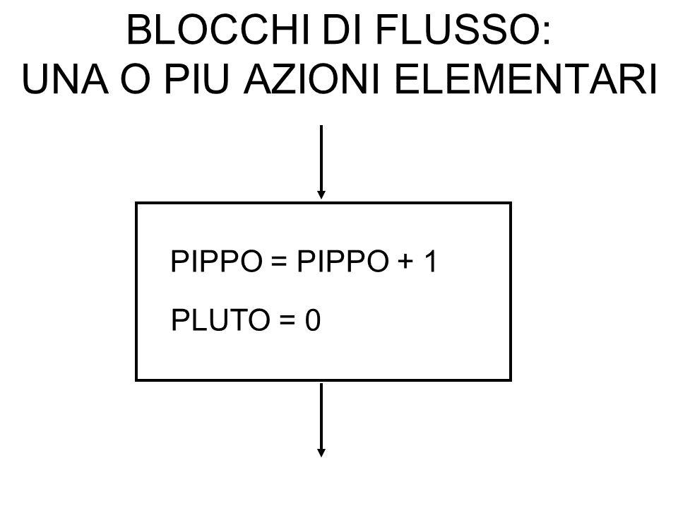BLOCCHI DI FLUSSO: UNA O PIU AZIONI ELEMENTARI PIPPO = PIPPO + 1 PLUTO = 0