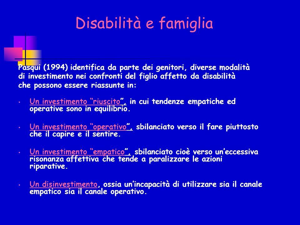 Pasqui (1994) identifica da parte dei genitori, diverse modalità di investimento nei confronti del figlio affetto da disabilità che possono essere riassunte in: Un investimento riuscito, in cui tendenze empatiche ed operative sono in equilibrio.