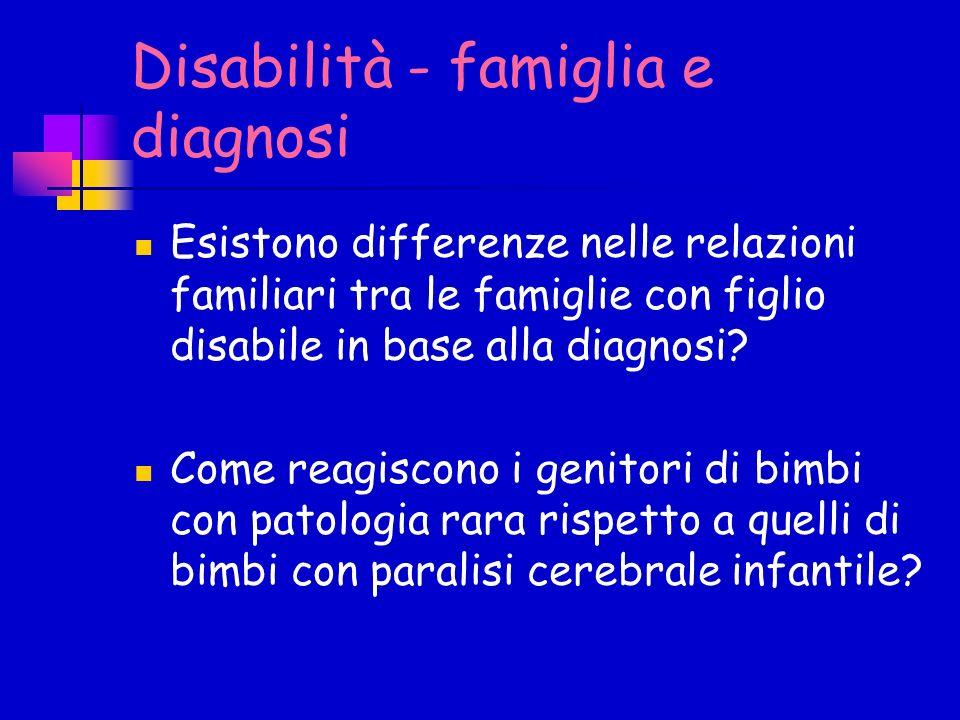 Disabilità - famiglia e diagnosi Esistono differenze nelle relazioni familiari tra le famiglie con figlio disabile in base alla diagnosi? Come reagisc