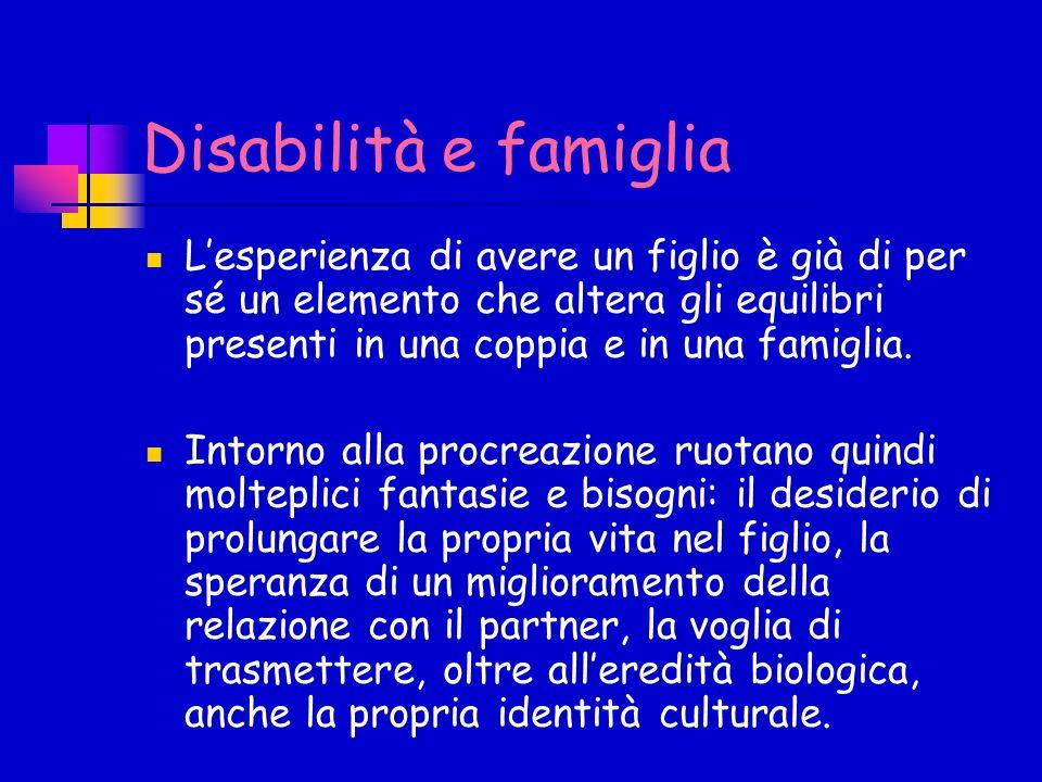 Disabilità e famiglia Lesperienza di avere un figlio è già di per sé un elemento che altera gli equilibri presenti in una coppia e in una famiglia. In