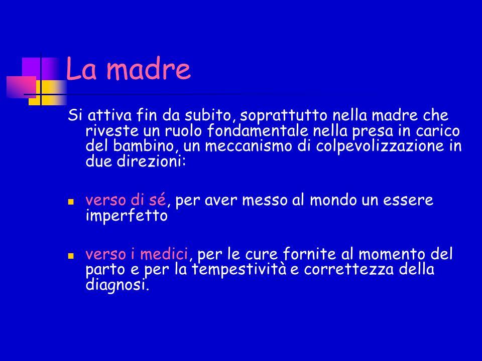 La madre Si attiva fin da subito, soprattutto nella madre che riveste un ruolo fondamentale nella presa in carico del bambino, un meccanismo di colpev