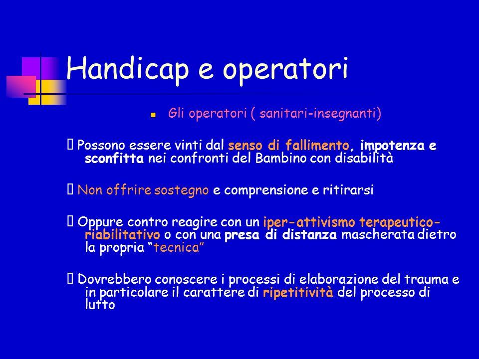 Handicap e operatori Gli operatori ( sanitari-insegnanti) Possono essere vinti dal senso di fallimento, impotenza e sconfitta nei confronti del Bambin