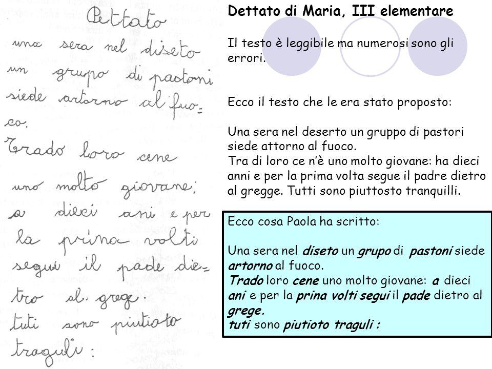 Dettato di Maria, III elementare Il testo è leggibile ma numerosi sono gli errori.