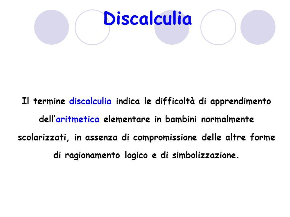 Discalculia Il termine discalculia indica le difficoltà di apprendimento dellaritmetica elementare in bambini normalmente scolarizzati, in assenza di compromissione delle altre forme di ragionamento logico e di simbolizzazione.