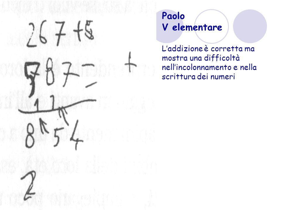 Paolo V elementare Laddizione è corretta ma mostra una difficoltà nellincolonnamento e nella scrittura dei numeri
