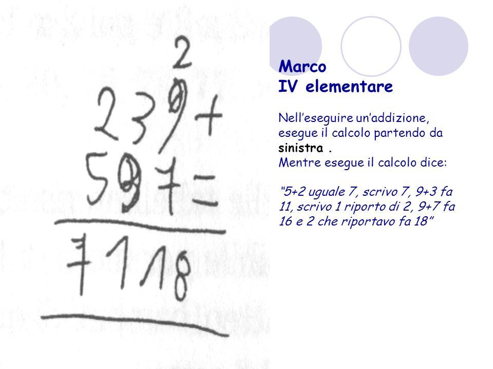 Marco IV elementare Nelleseguire unaddizione, esegue il calcolo partendo da sinistra.