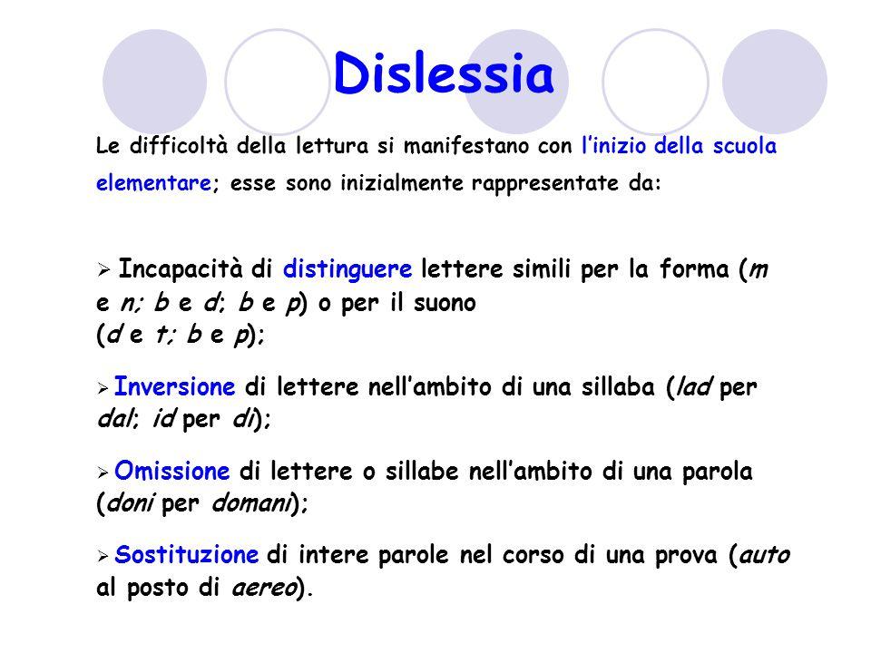 Le difficoltà della lettura si manifestano con linizio della scuola elementare; esse sono inizialmente rappresentate da: Incapacità di distinguere lettere simili per la forma (m e n; b e d; b e p) o per il suono (d e t; b e p); Inversione di lettere nellambito di una sillaba (lad per dal; id per di); Omissione di lettere o sillabe nellambito di una parola (doni per domani); Sostituzione di intere parole nel corso di una prova (auto al posto di aereo).