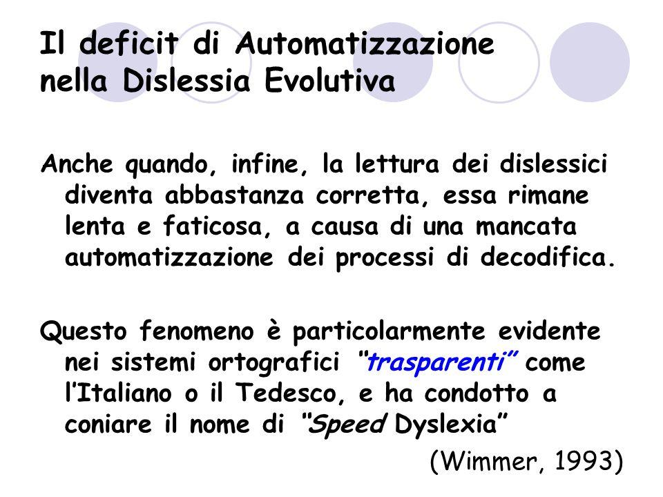 Il deficit di Automatizzazione nella Dislessia Evolutiva Anche quando, infine, la lettura dei dislessici diventa abbastanza corretta, essa rimane lenta e faticosa, a causa di una mancata automatizzazione dei processi di decodifica.