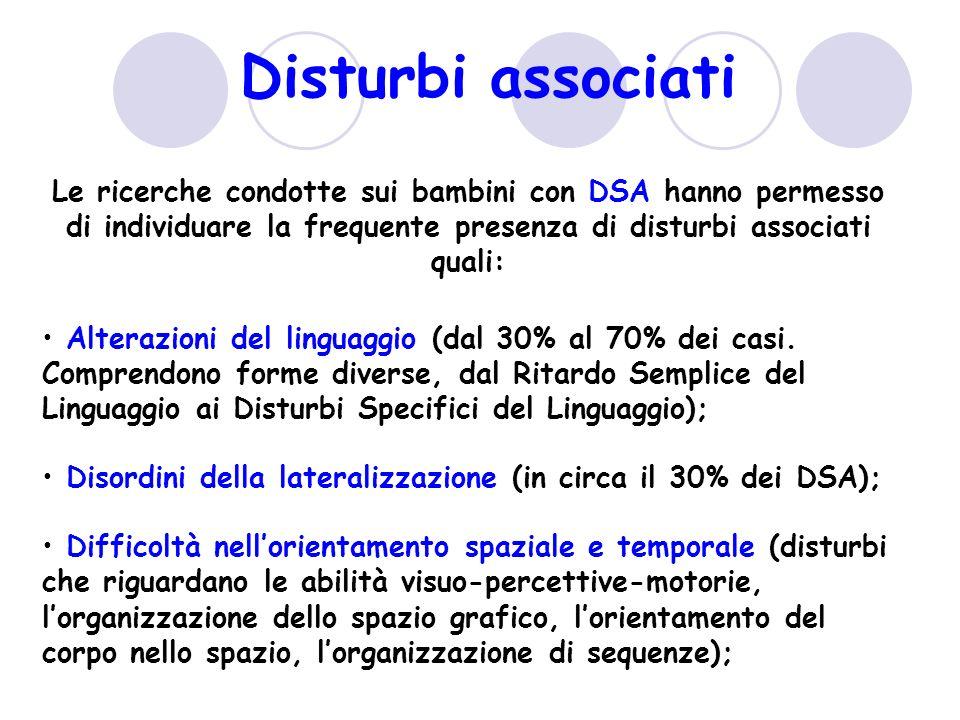 Disturbi associati Le ricerche condotte sui bambini con DSA hanno permesso di individuare la frequente presenza di disturbi associati quali: Alterazioni del linguaggio (dal 30% al 70% dei casi.