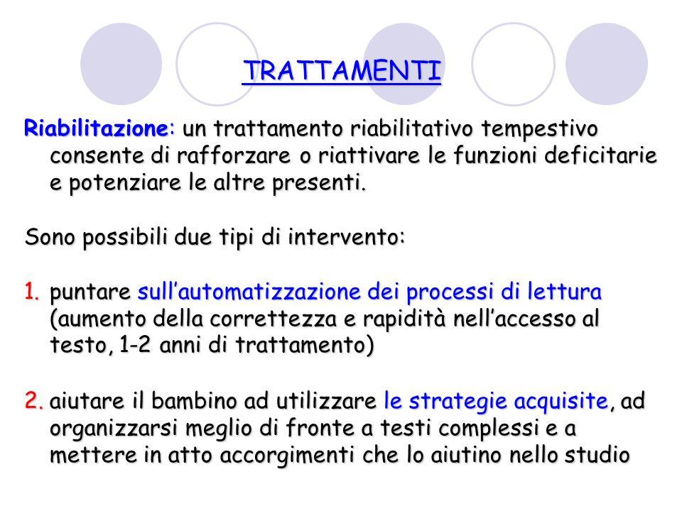 TRATTAMENTI Riabilitazione: un trattamento riabilitativo tempestivo consente di rafforzare o riattivare le funzioni deficitarie e potenziare le altre presenti.