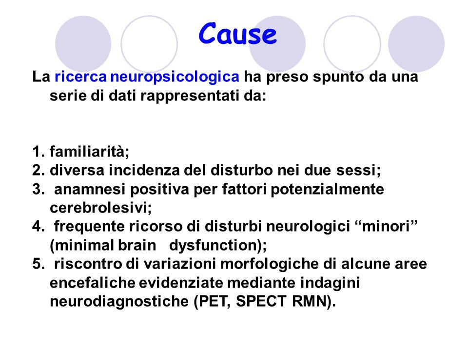 Cause La ricerca neuropsicologica ha preso spunto da una serie di dati rappresentati da: 1.familiarità; 2.diversa incidenza del disturbo nei due sessi; 3.