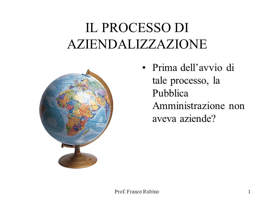 Prof. Franco Rubino1 IL PROCESSO DI AZIENDALIZZAZIONE Prima dellavvio di tale processo, la Pubblica Amministrazione non aveva aziende?