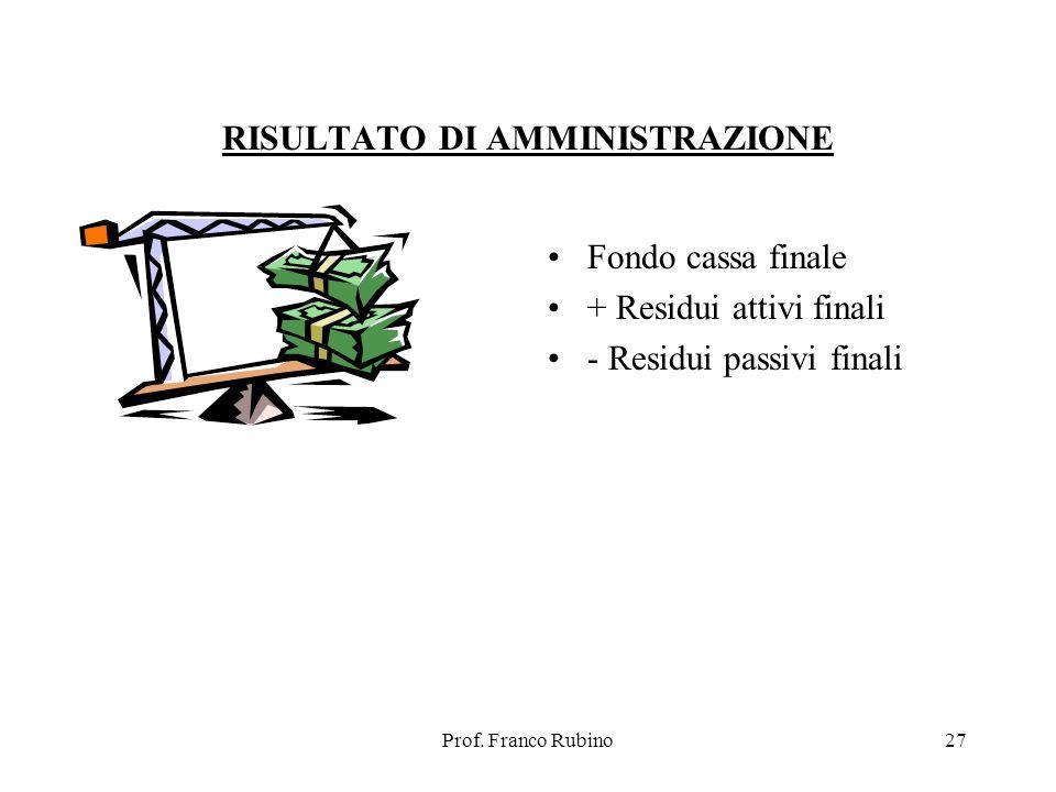 Prof. Franco Rubino27 RISULTATO DI AMMINISTRAZIONE Fondo cassa finale + Residui attivi finali - Residui passivi finali