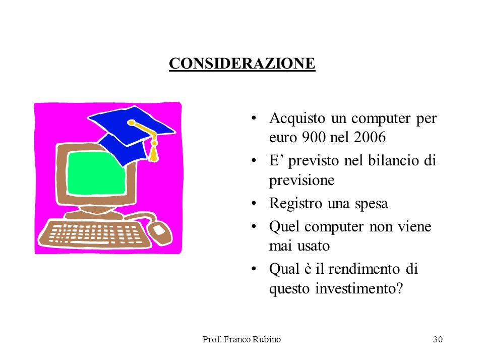 Prof. Franco Rubino30 CONSIDERAZIONE Acquisto un computer per euro 900 nel 2006 E previsto nel bilancio di previsione Registro una spesa Quel computer