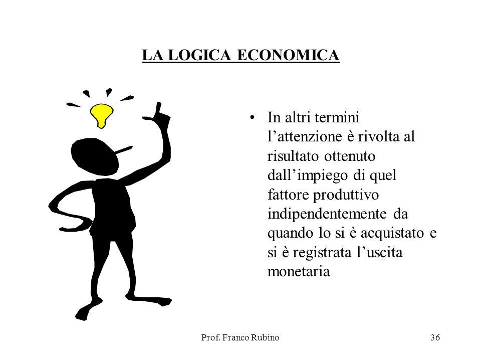 Prof. Franco Rubino36 LA LOGICA ECONOMICA In altri termini lattenzione è rivolta al risultato ottenuto dallimpiego di quel fattore produttivo indipend