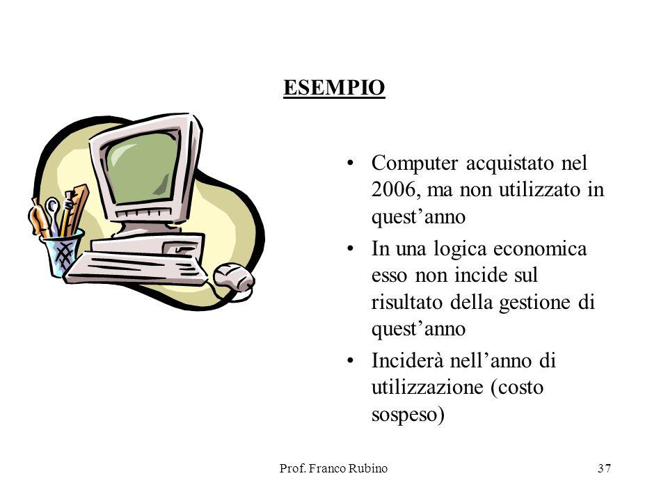 Prof. Franco Rubino37 ESEMPIO Computer acquistato nel 2006, ma non utilizzato in questanno In una logica economica esso non incide sul risultato della