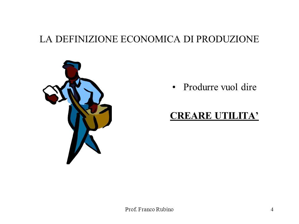 Prof. Franco Rubino4 LA DEFINIZIONE ECONOMICA DI PRODUZIONE Produrre vuol dire CREARE UTILITA