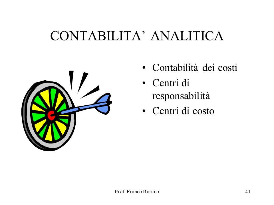 Prof. Franco Rubino41 CONTABILITA ANALITICA Contabilità dei costi Centri di responsabilità Centri di costo