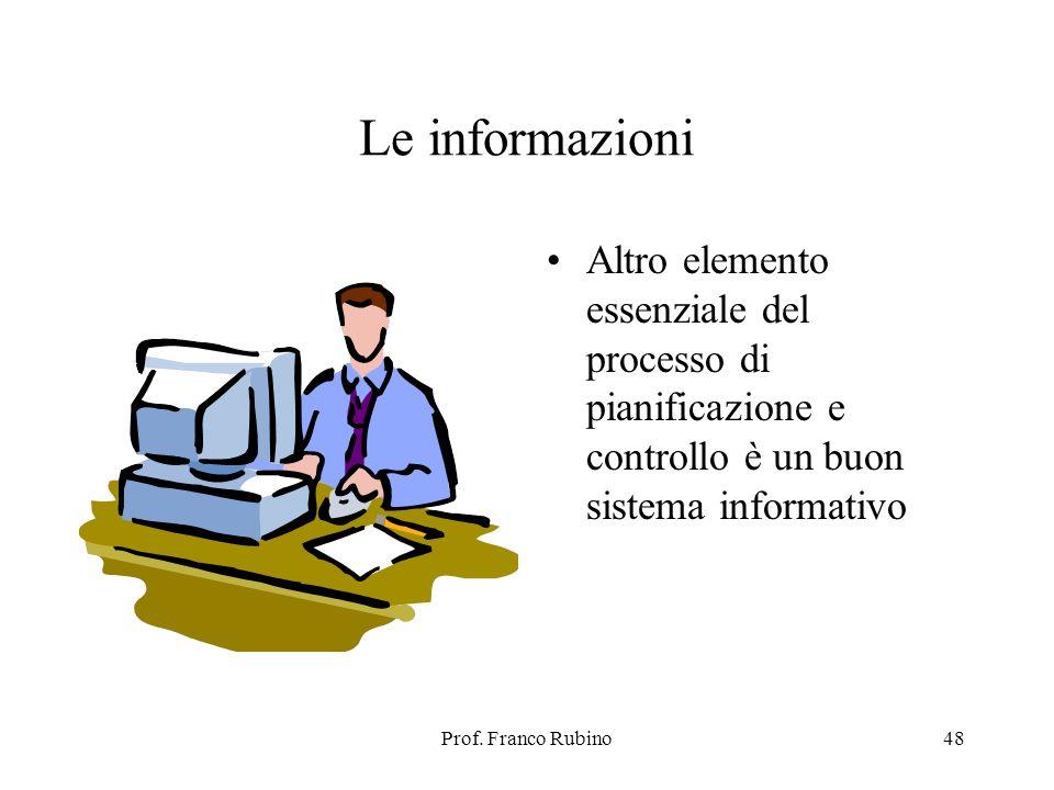 Prof. Franco Rubino48 Le informazioni Altro elemento essenziale del processo di pianificazione e controllo è un buon sistema informativo